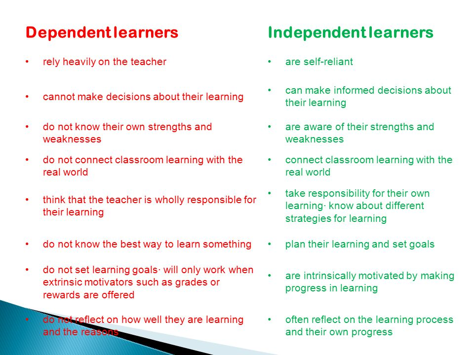 Dependent learners Independent learners rely heavily on the teacher