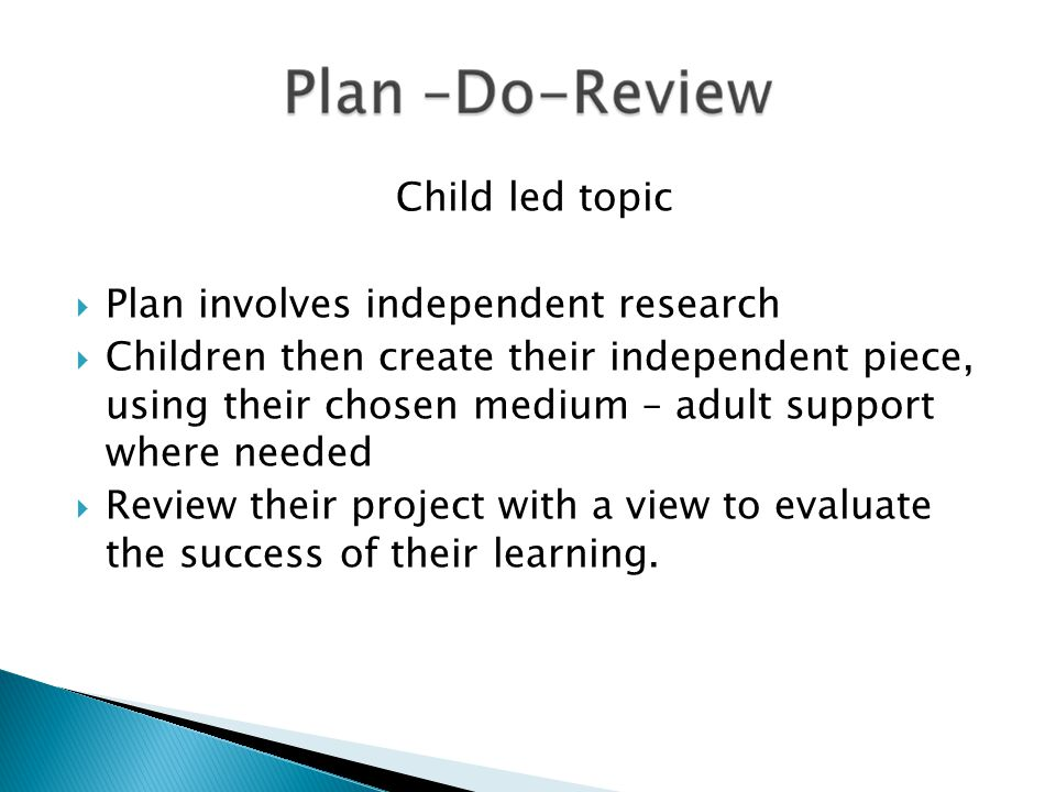 Child led topic Plan involves independent research.