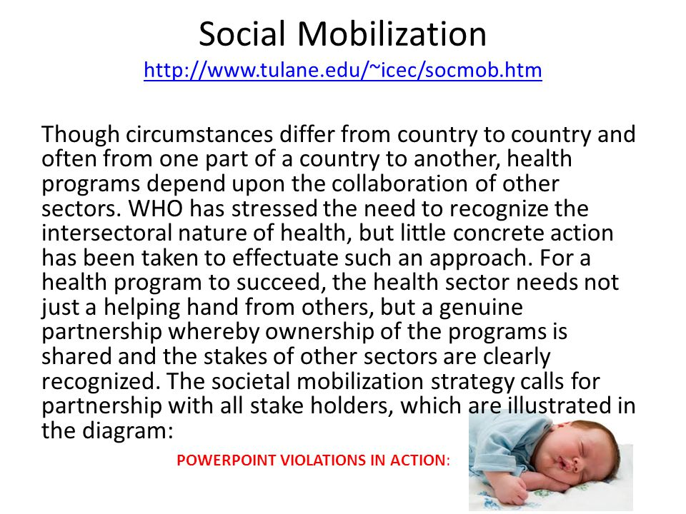 Social Mobilization http://www.tulane.edu/~icec/socmob.htm