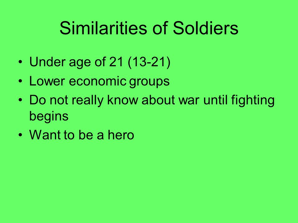 Similarities of Soldiers