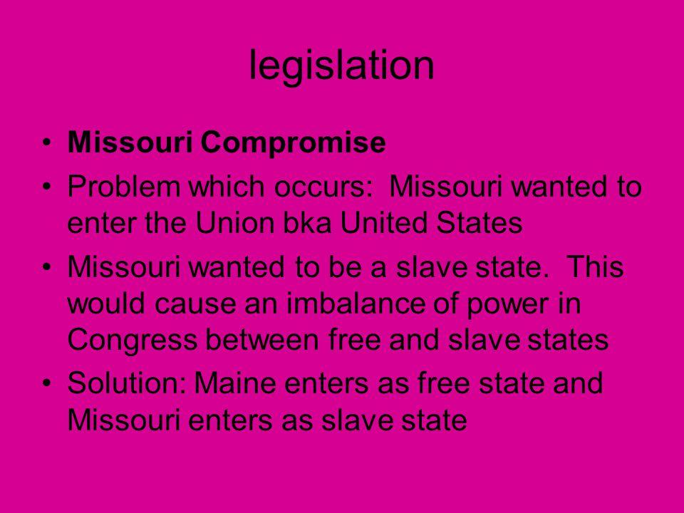 legislation Missouri Compromise