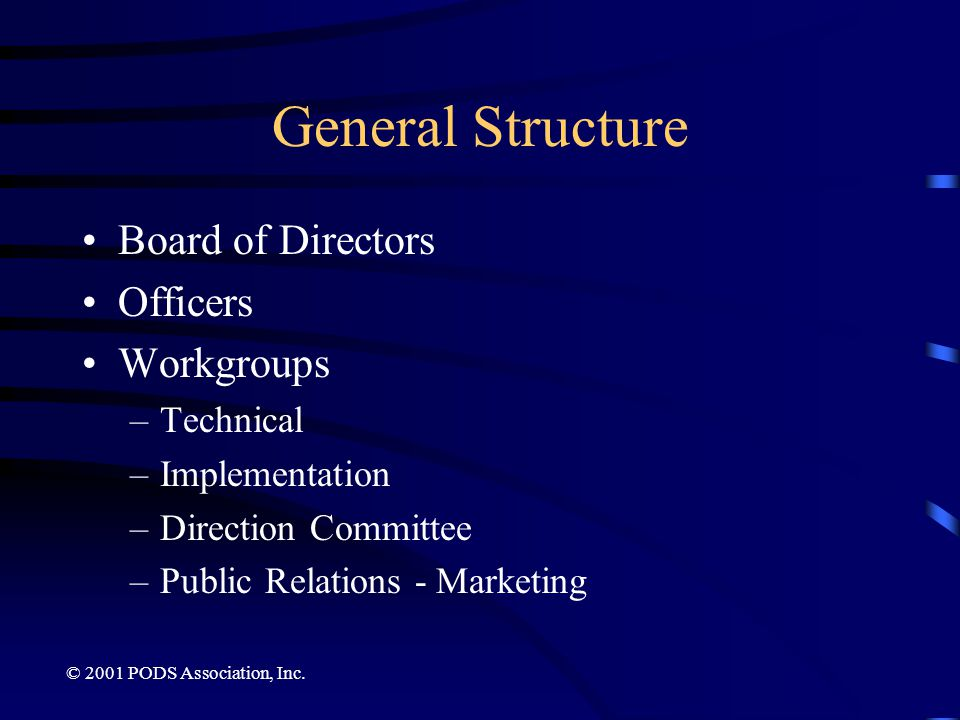 General Structure Board of Directors Officers Workgroups Technical