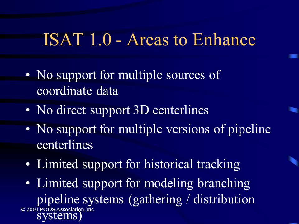 ISAT 1.0 - Areas to Enhance No support for multiple sources of coordinate data. No direct support 3D centerlines.