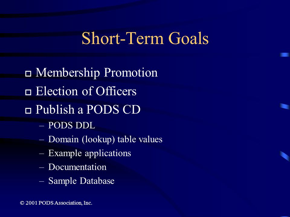 Short-Term Goals Membership Promotion Election of Officers