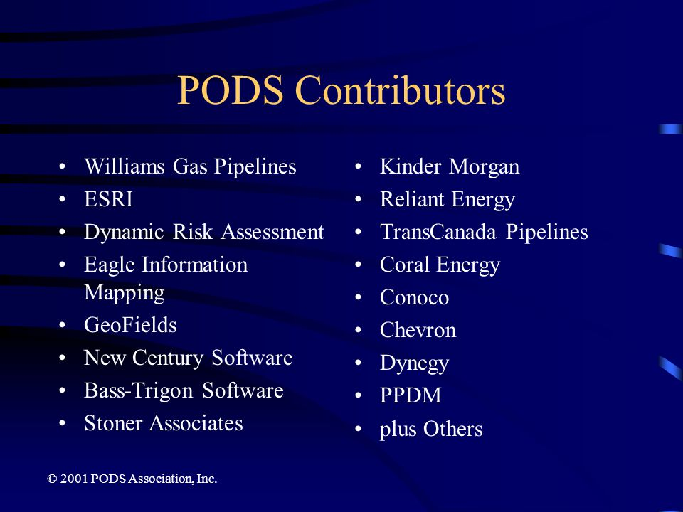 PODS Contributors Williams Gas Pipelines ESRI Dynamic Risk Assessment