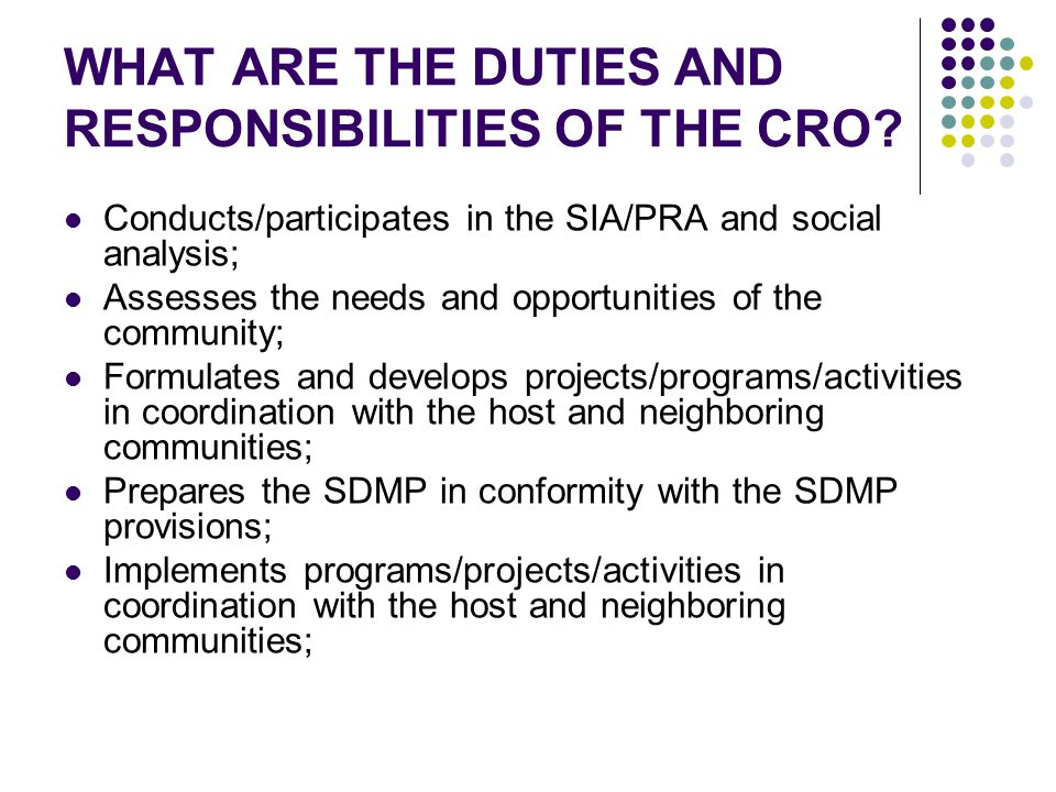 WHAT ARE THE DUTIES AND RESPONSIBILITIES OF THE CRO