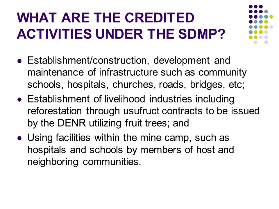 WHAT ARE THE CREDITED ACTIVITIES UNDER THE SDMP