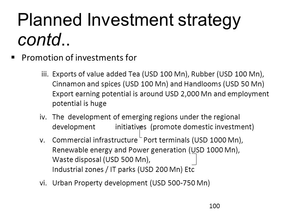 Planned Investment strategy contd..