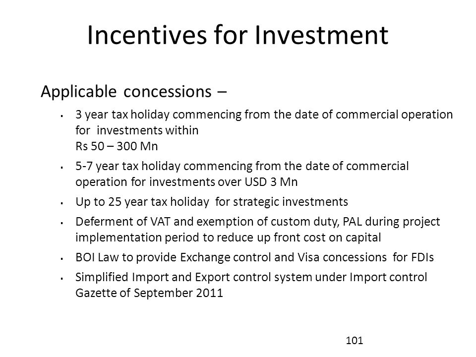Incentives for Investment