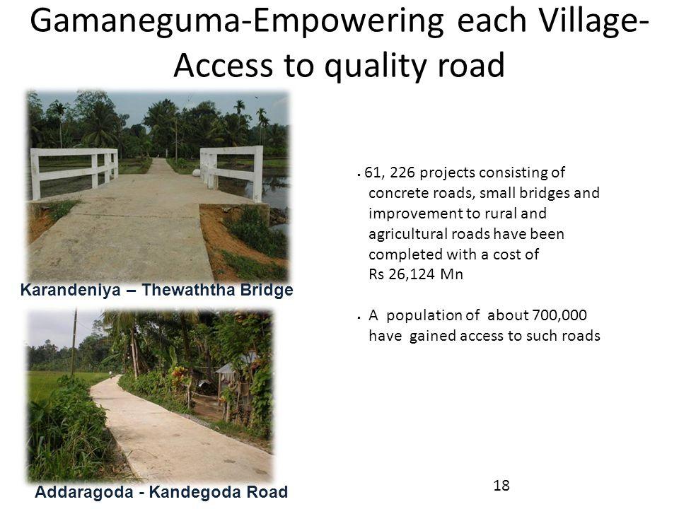 Karandeniya – Thewaththa Bridge Addaragoda - Kandegoda Road