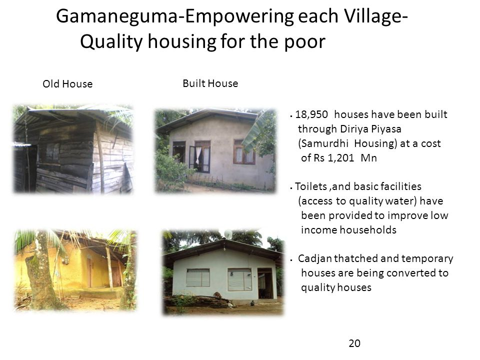 Gamaneguma-Empowering each Village- Quality housing for the poor