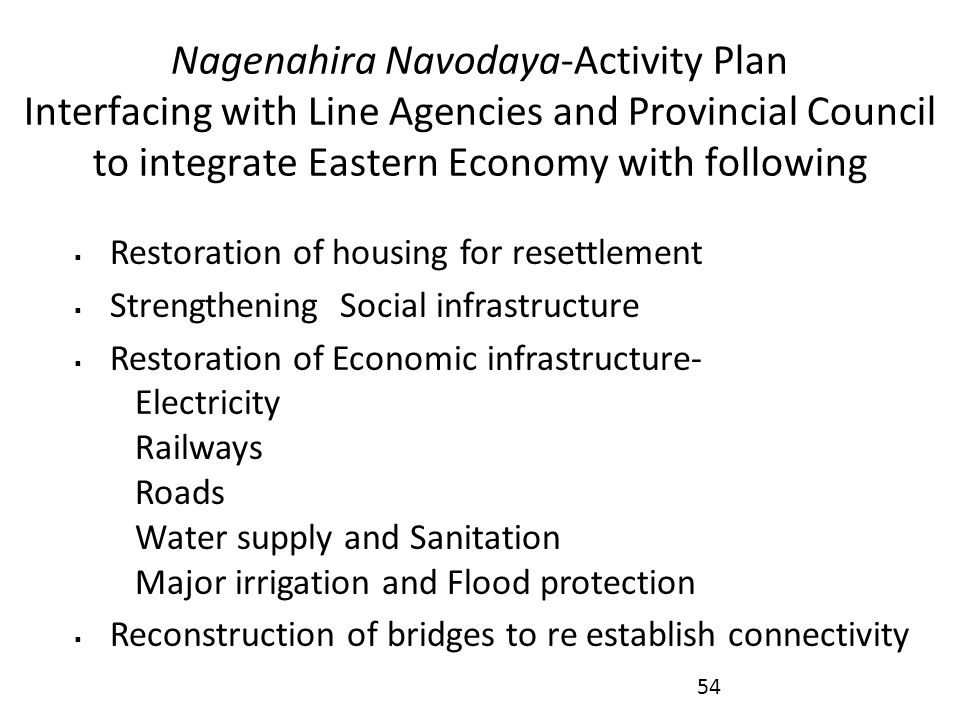 Nagenahira Navodaya-Activity Plan Interfacing with Line Agencies and Provincial Council to integrate Eastern Economy with following