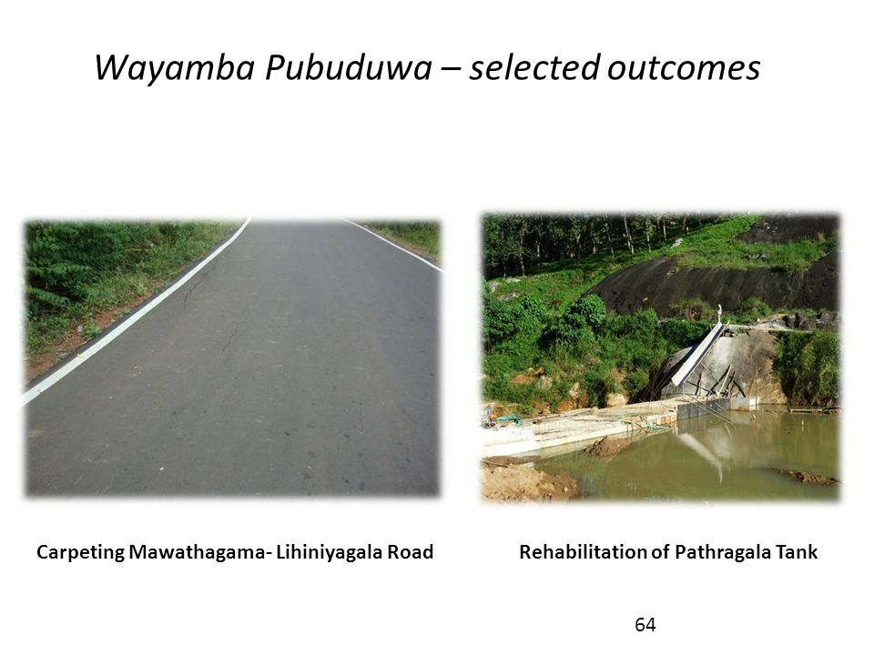 Wayamba Pubuduwa – selected outcomes