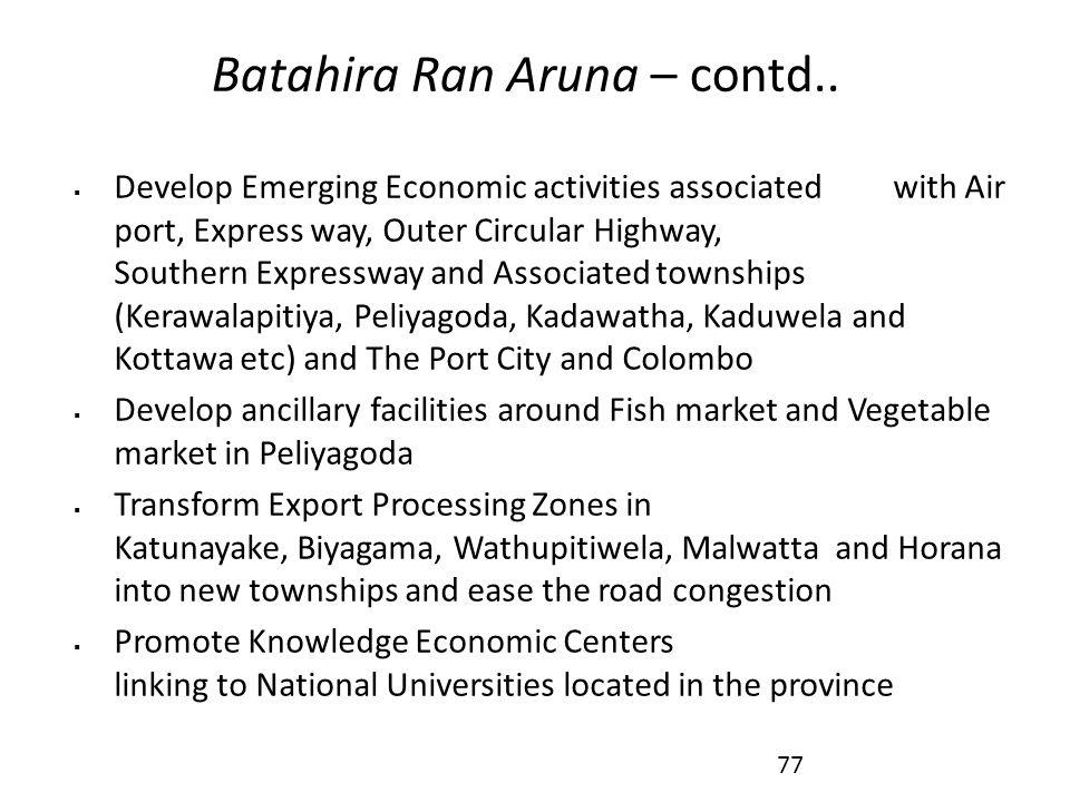 Batahira Ran Aruna – contd..