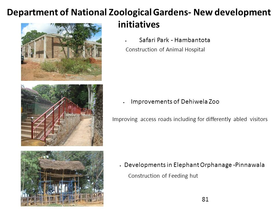 Department of National Zoological Gardens- New development initiatives
