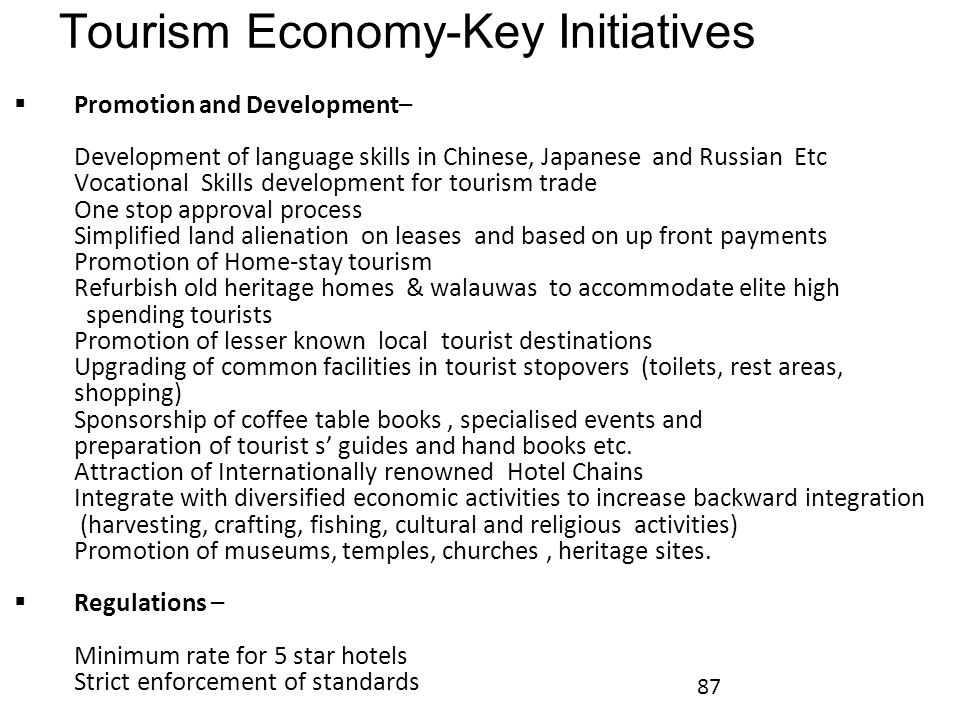 Tourism Economy-Key Initiatives