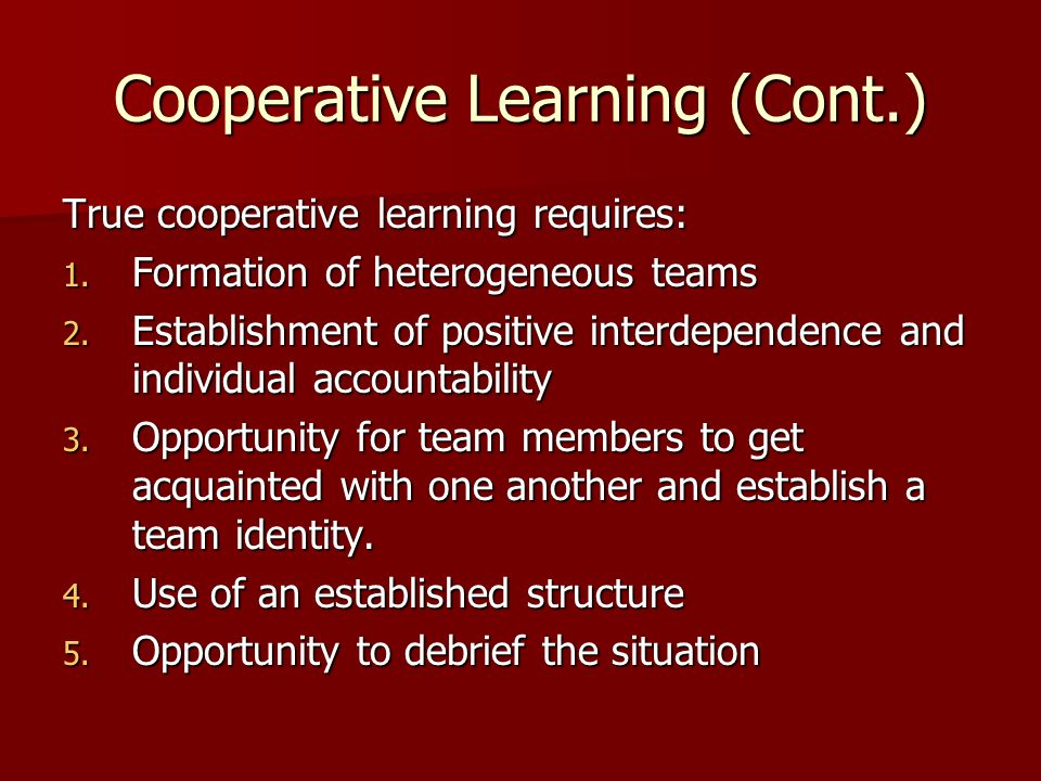 Cooperative Learning (Cont.)