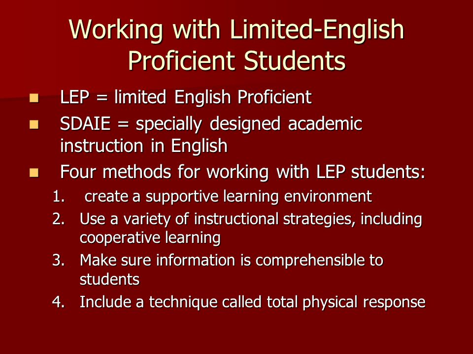 Working with Limited-English Proficient Students