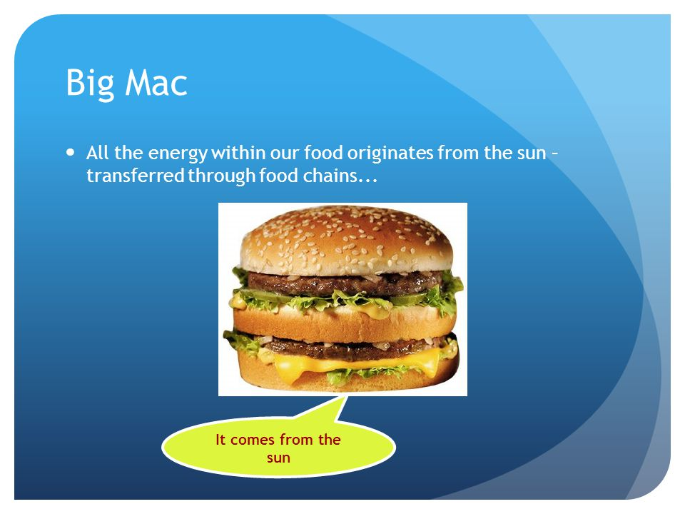Big Mac All the energy within our food originates from the sun – transferred through food chains...