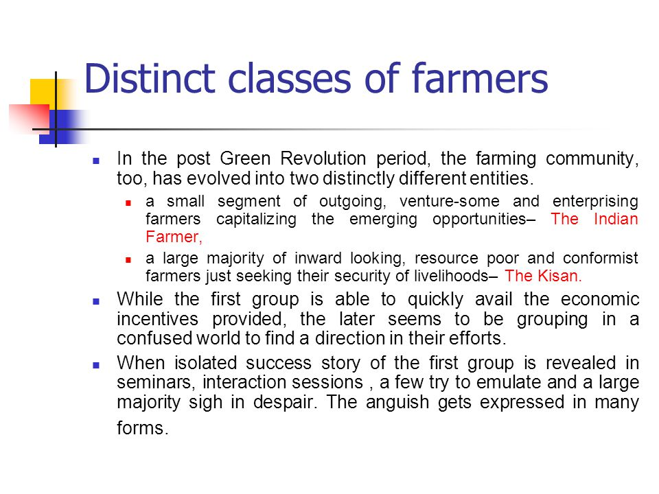 Distinct classes of farmers