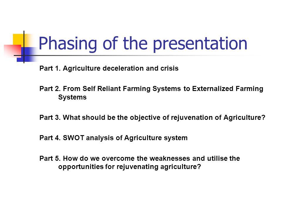 Phasing of the presentation