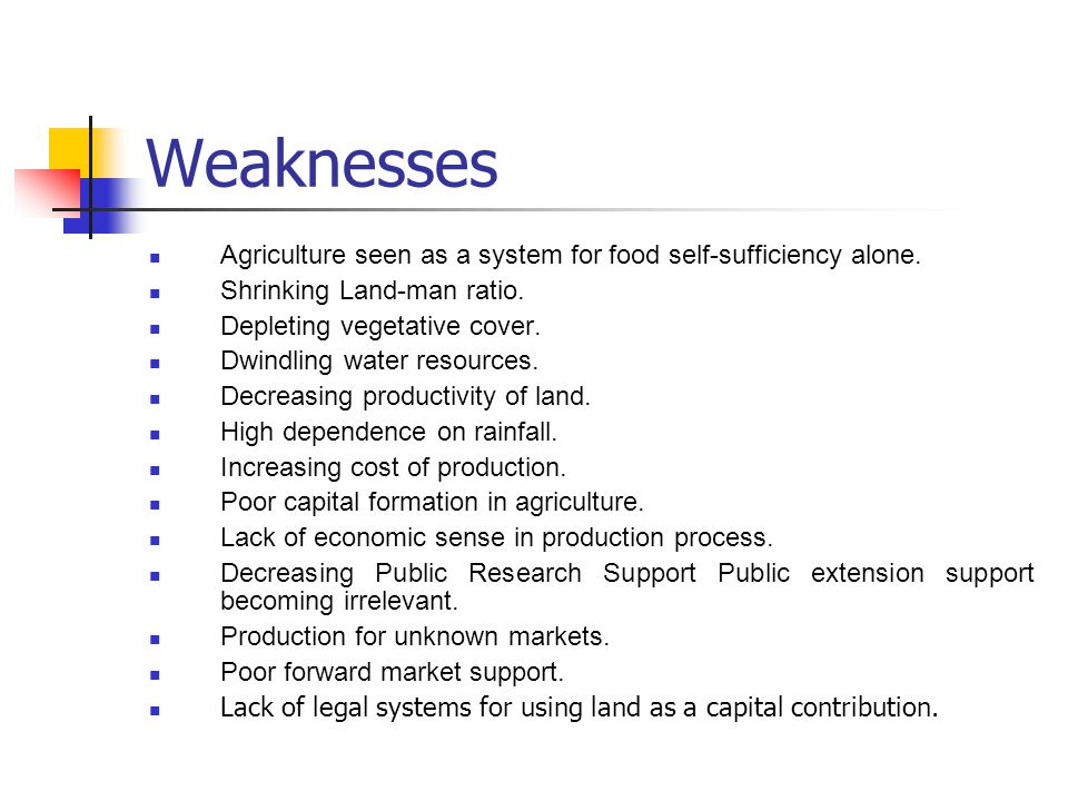 Weaknesses Agriculture seen as a system for food self-sufficiency alone. Shrinking Land-man ratio.