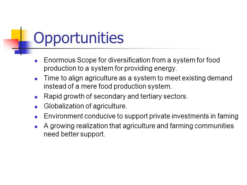 Opportunities Enormous Scope for diversification from a system for food production to a system for providing energy.