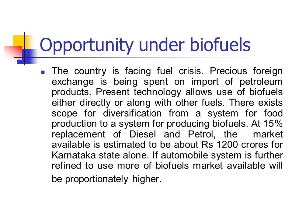 Opportunity under biofuels