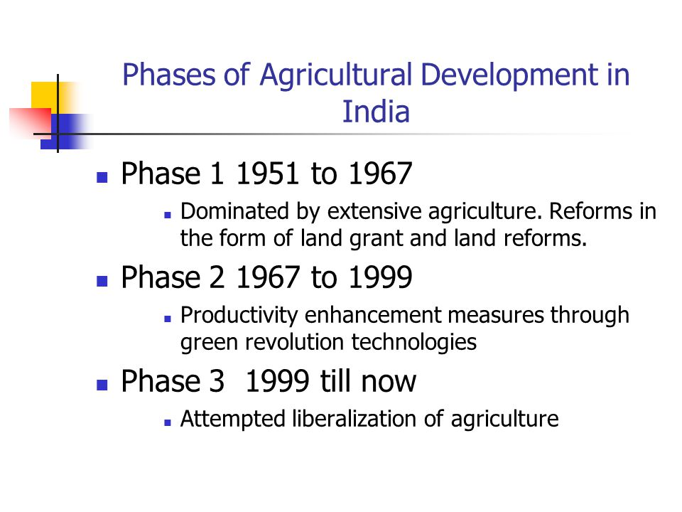 Phases of Agricultural Development in India
