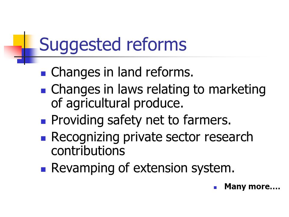 Suggested reforms Changes in land reforms.