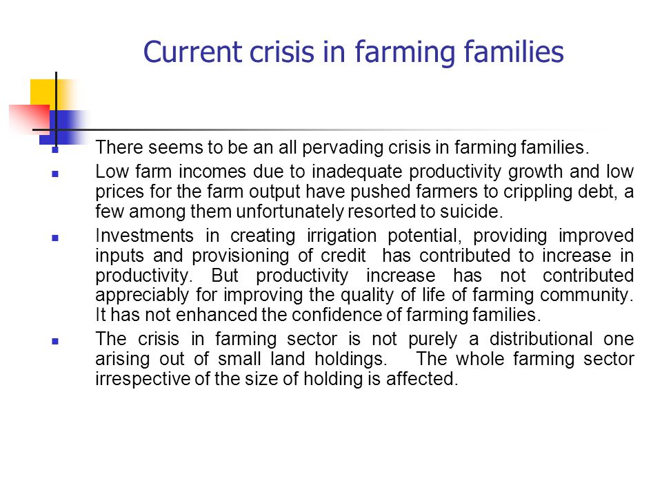 Current crisis in farming families