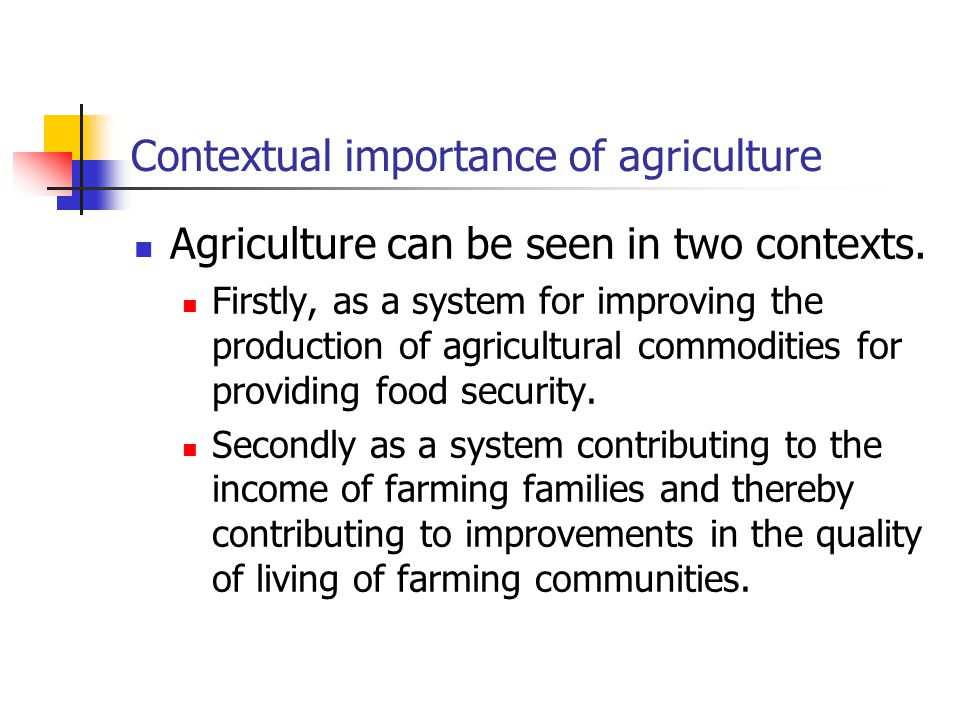 Contextual importance of agriculture