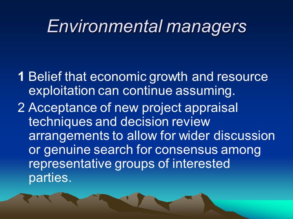 Environmental managers