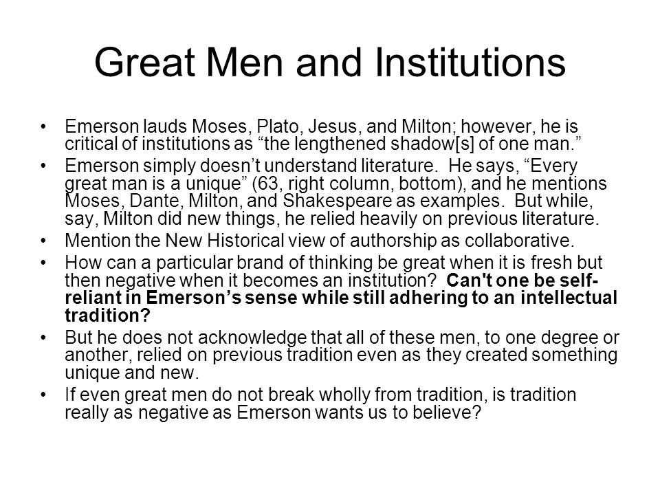 Great Men and Institutions