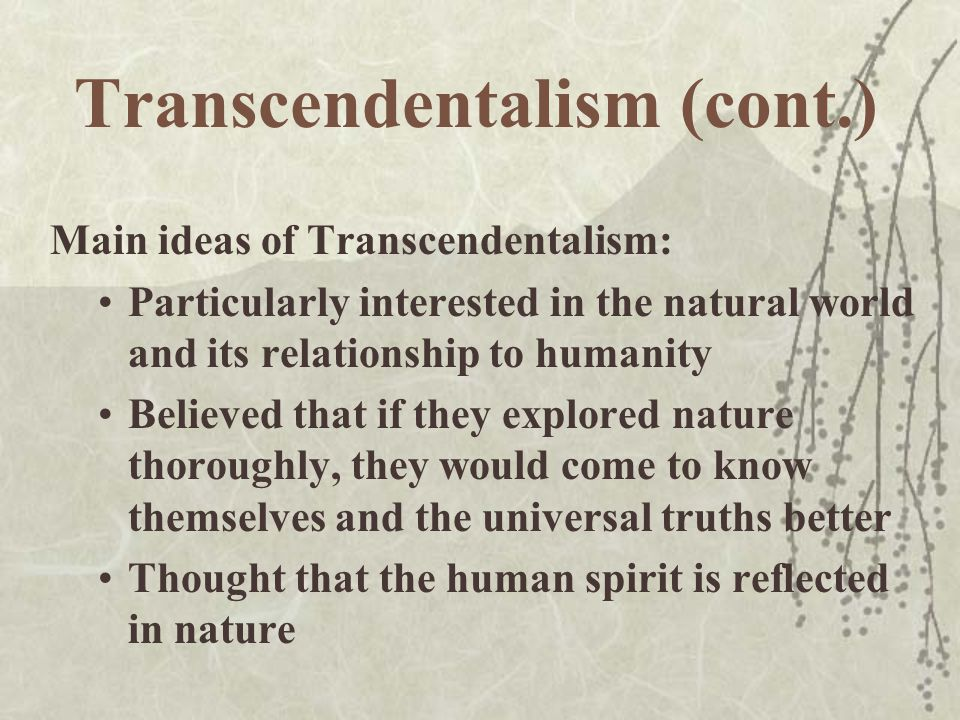 a discussion on transcendentalism in todays world Teach transcendentalism with ideas from this resource guide, including   context, quotes, discussion questions, useful links, and notes/teacher  comments  and the world around us transcends what we can see, hear, taste,  touch, or feel  essay prompt: identify modern expressions of  transcendentalism in.