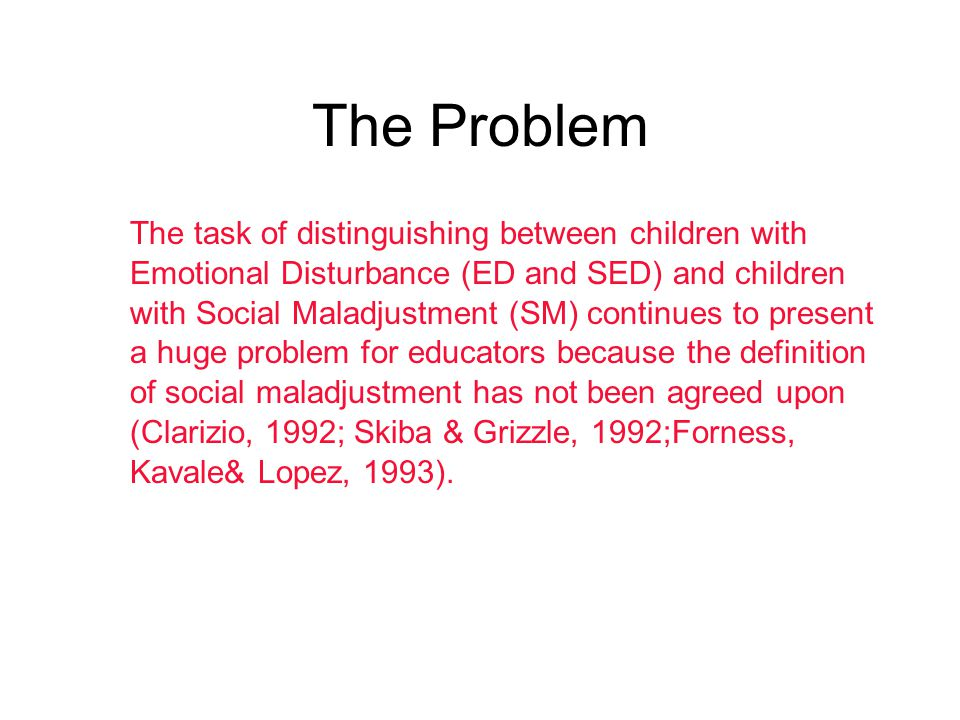 The Problem The task of distinguishing between children with