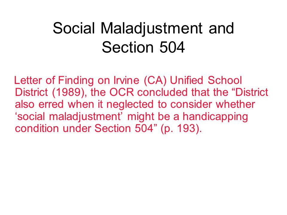 Social Maladjustment and Section 504