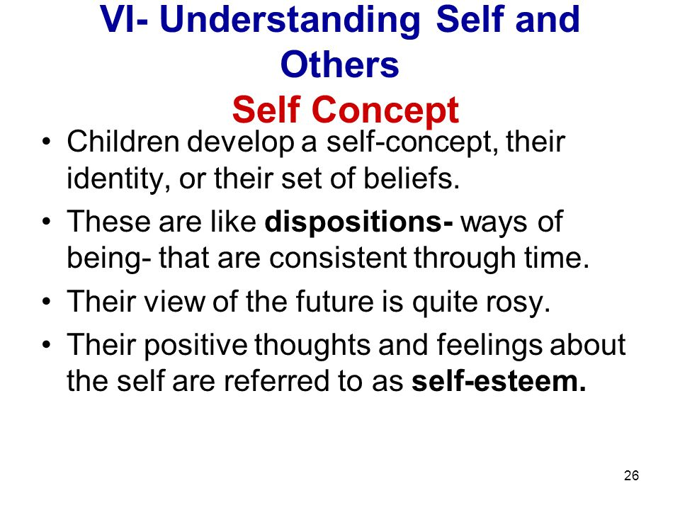 VI- Understanding Self and Others Self Concept