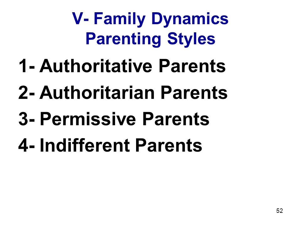V- Family Dynamics Parenting Styles