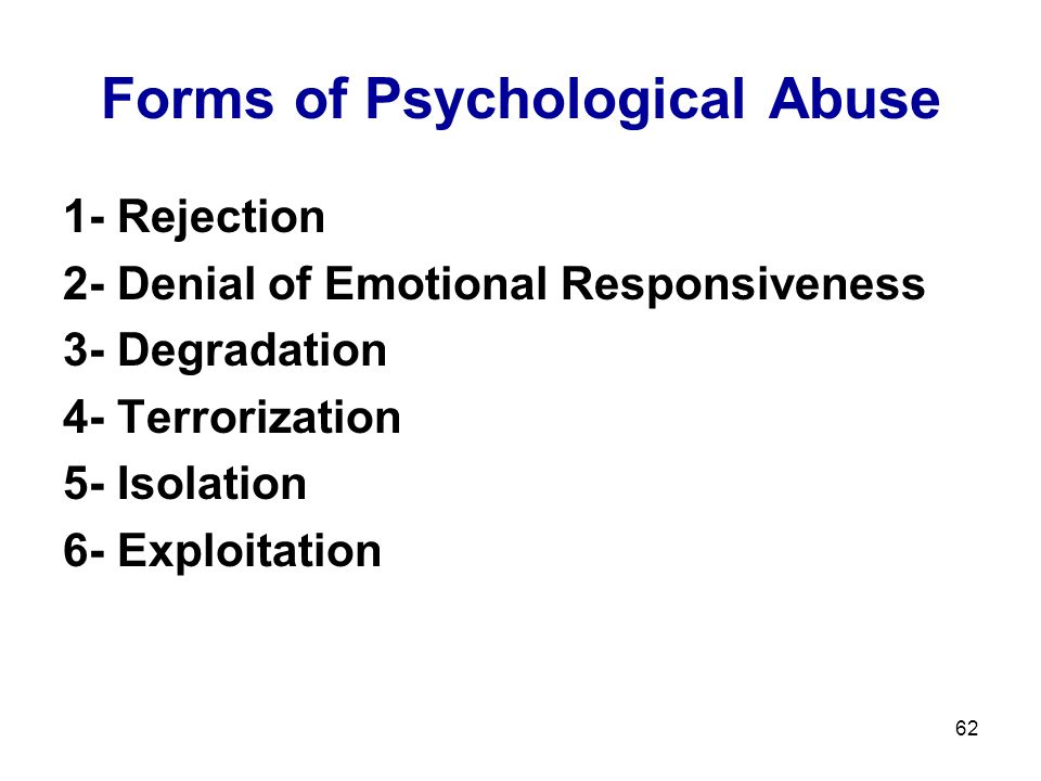 Forms of Psychological Abuse