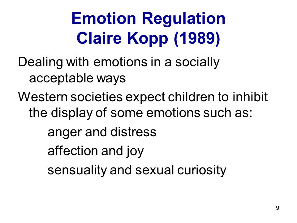 Emotion Regulation Claire Kopp (1989)