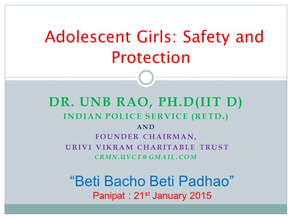 Adolescent Girls: Safety and Protection