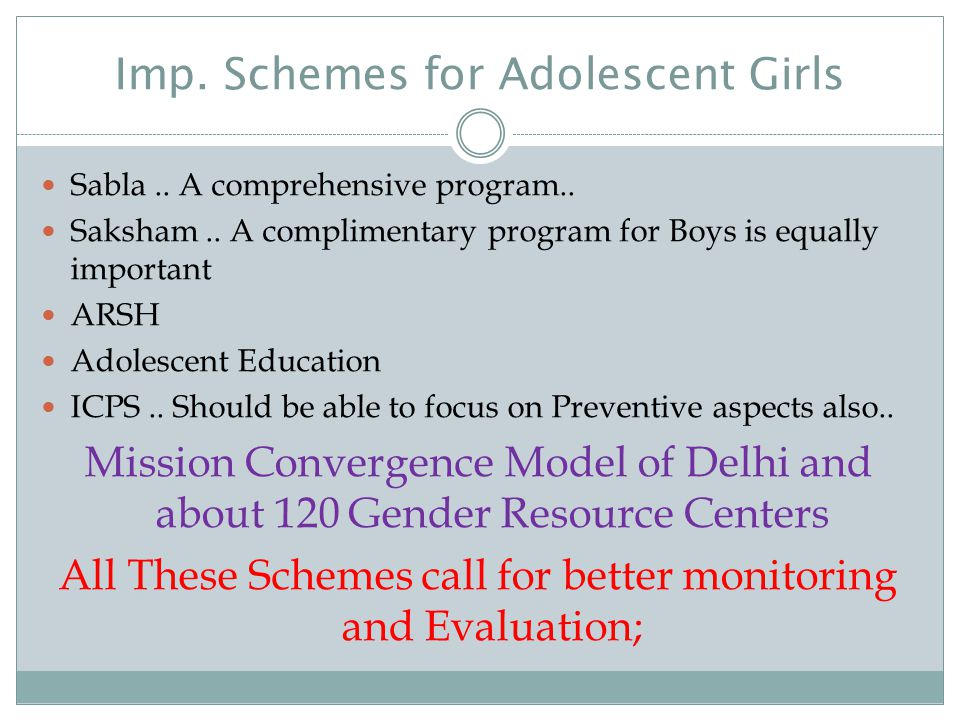 Imp. Schemes for Adolescent Girls