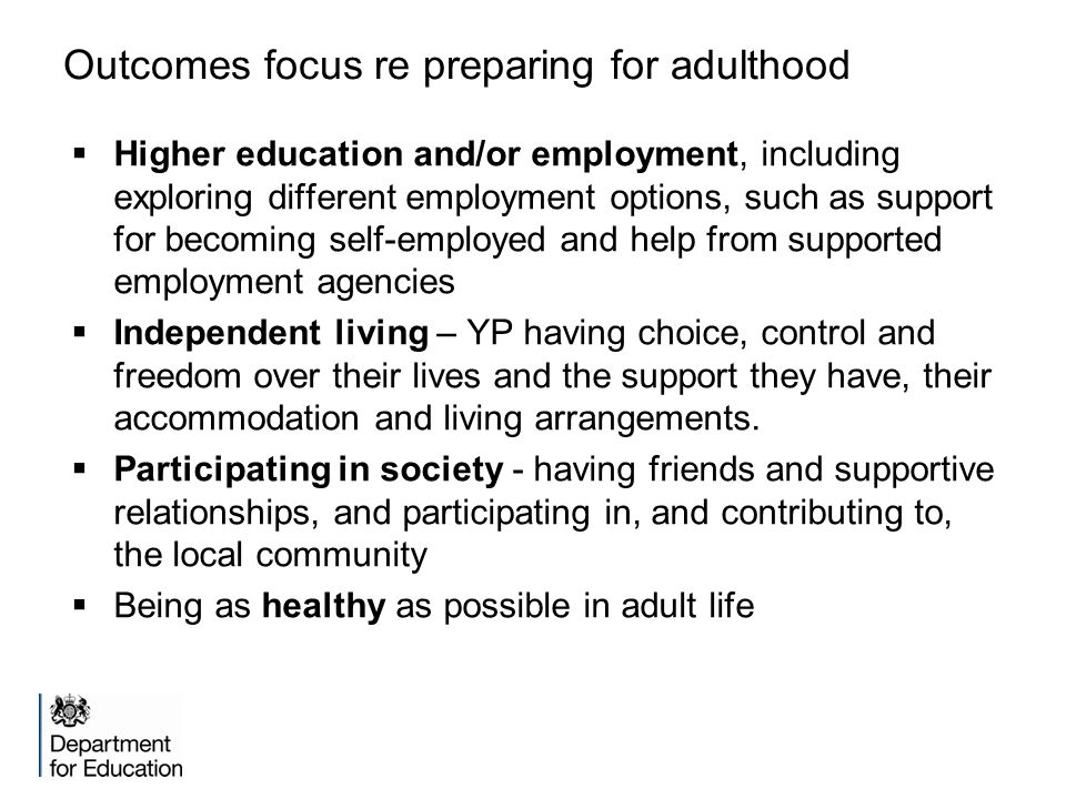 Outcomes focus re preparing for adulthood