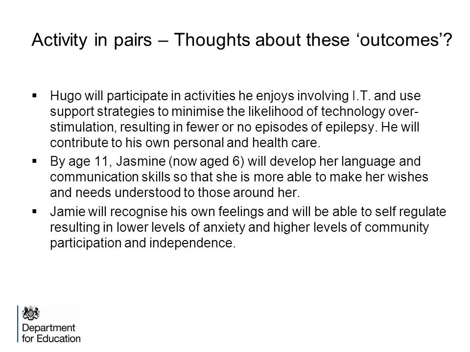 Activity in pairs – Thoughts about these 'outcomes'