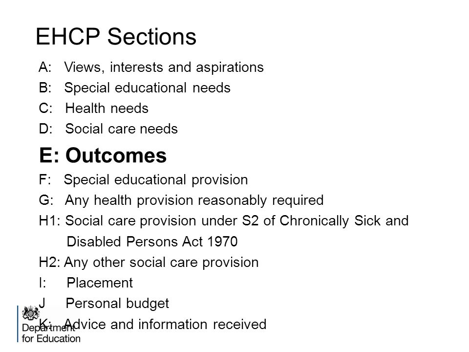 EHCP Sections E: Outcomes A: Views, interests and aspirations