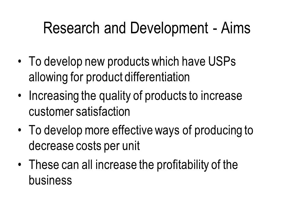 Research and Development - Aims