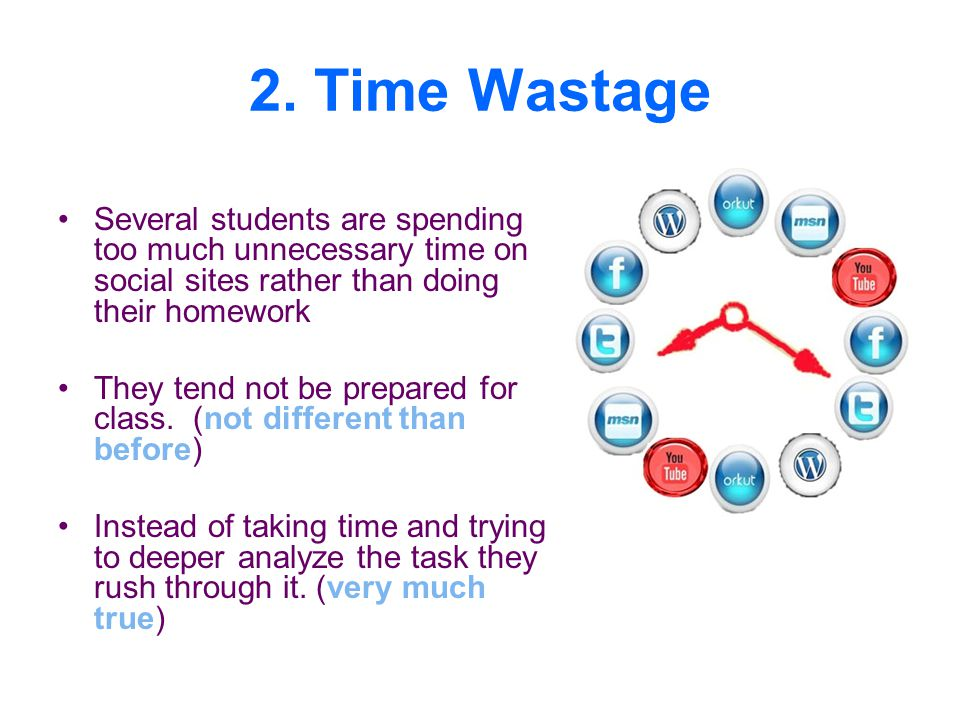 2. Time Wastage Several students are spending too much unnecessary time on social sites rather than doing their homework.