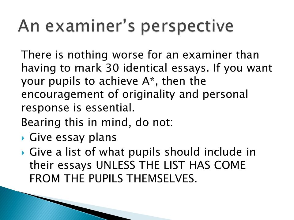 An examiner's perspective