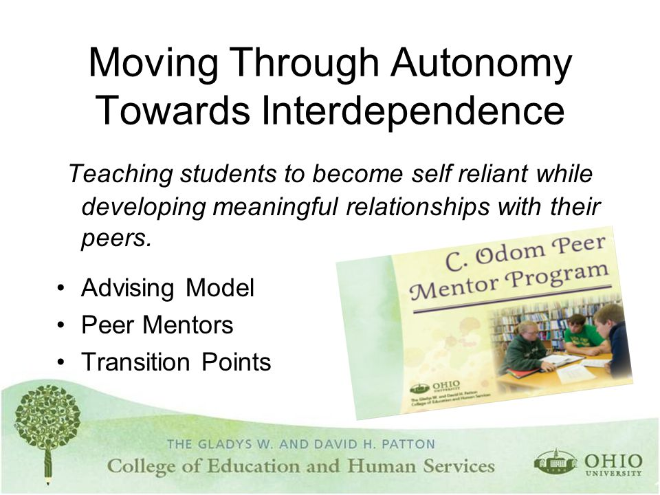 Moving Through Autonomy Towards Interdependence